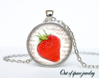 Strawberry necklace strawberry necklace pendant strawberry jewelry fruit necklace