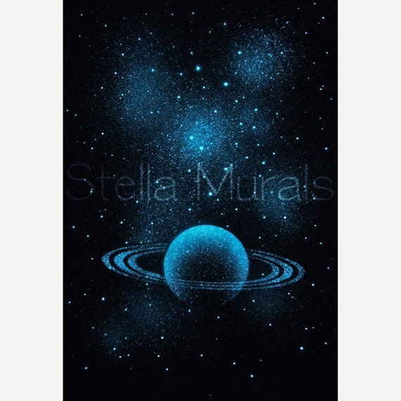 Nebula Stars And Planet Glow In The Dark Poster By