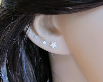Tiny Sterling Silver Star Stud Earrings, tiny Stud Earrings, Everyday Jewelry