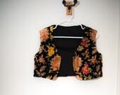 Vintage floral upholstery vest / carpet vest