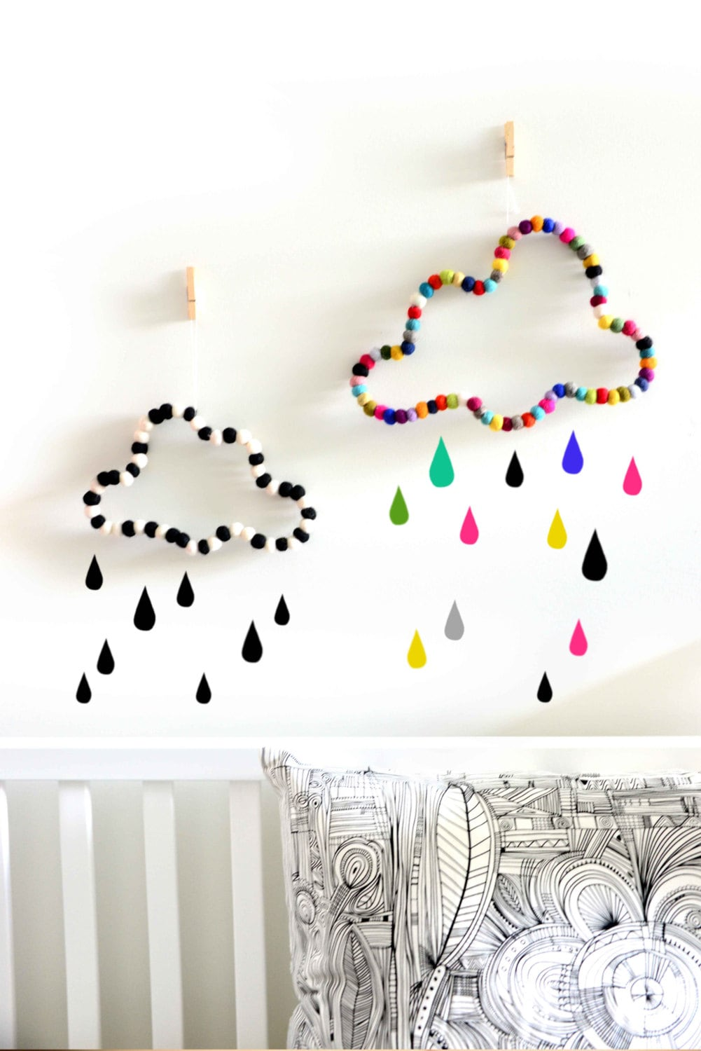 Cloud wall decor nursery decor kids room by stefcollections for Room wall decor