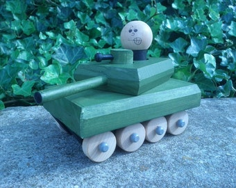 """Wooden military Tank with """"Wee-one"""" figure"""