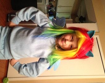 Rainbow Dash Wig MLP Raibow Unicorn Pony Costume My Little Pony With Ears, Child, my little pony cosplay