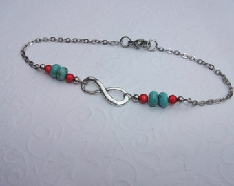 Infinity anklet/bracelet or necklace with turquoise and red beads