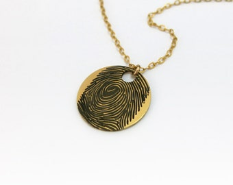 Actual Fingerprint necklace, Finger Print Necklace, Custom Finger Print, Personalized Fingerprint, Gold Fingerprint, Finger print charm.