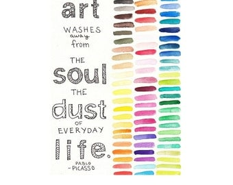 """Picasso Art Quote - 5""""x7"""" Watercolor and Ink Illustration Print, Colorful, Pablo Picasso"""