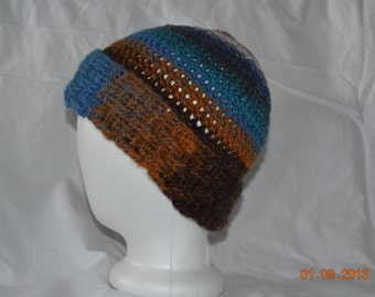 Multi Colored Earth-Toned Hat with Basketweave Brim