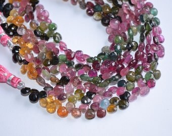 "8"" Strand  5mm-AA-Multi Tourmaline-Watermelon Multi Tourmaline Faceted heart Shape Briolette Beads-66 Briolettes"