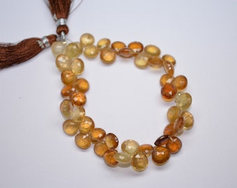 "Fine Polished-Full 8"" Strand-8-9mm-Beautiful Genuine Natural Hessonite Garnet Faceted Heart Shape Briolette Beads Strand"
