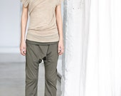 Arya Asymmetrical Short Sleeved Top/ Yoga Top/ Beige Top/ Yoga Clothing by AryaSense/ TFLD12BE