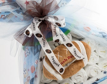 "The ""Football"" Sport Diaper Bundle. Baby Shower Centerpiece or Gift."