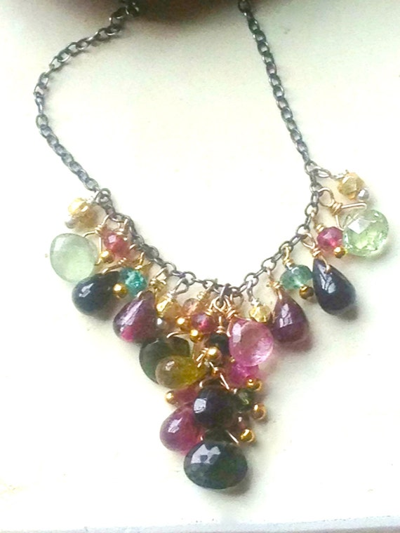 Tourmaline Briolette Necklace  Tourmaline Cluster Genuine Tourmaline Mixed Metal October Birthstone March 2016 Feature in Beadstyle Magazine