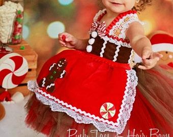 Gingerbread Tutu Dress- Christmas tutu dress- gingerbread costume- gingerbread dress-