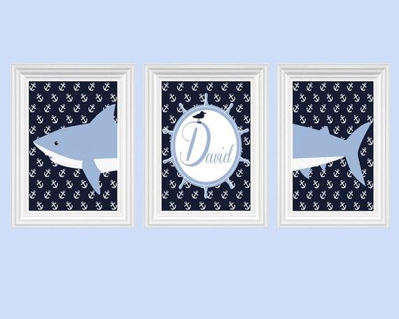 Shark Nursery Decor Personalized Name Navy Blue Light Blue