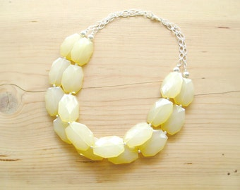 Yellow Statement Necklace, Butter yellow necklace, Light yellow necklace