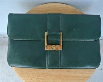 Vintage 1950s Leather Green Clutch by VIKI Originals Soft Supple Leather