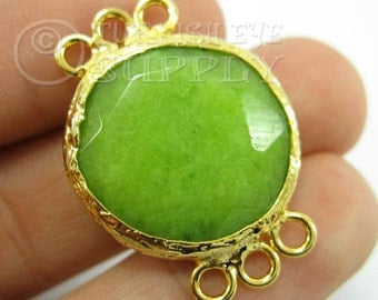 22mm Lime Green Bezel Connector Round Faceted Jade Connector Gemstone Connector Gold Plated Bezel Turkish Connector Turkish Jewelry