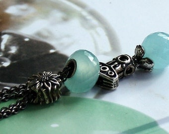 925 Silver Fantasy-Necklace with facetted Aqua Chalcedony Pendant