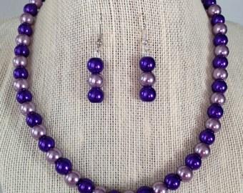 Purple Pearl Necklace, Bridesmaid Jewelry, Beaded Jewelry, Purple Wedding, Purple Earrings, Bridesmaid Gift, Wedding Jewelry