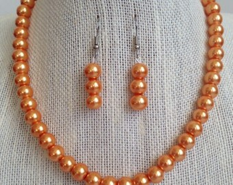 Orange Pearl Necklace, Bridesmaid Jewelry, Fall Wedding Jewelry, Orange Wedding, Bridesmaid Gift, Orange Necklace, Orange Jewelry