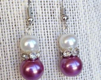 Purple Bridesmaid Wedding Jewelry Pearl Earrings Rhinestone Earrings Bridesmaid Gift Purple Wedding Purple Earrings