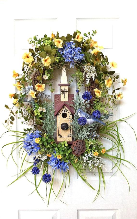Spring wreath silk floral wreath birdhouse wreath front door wreath