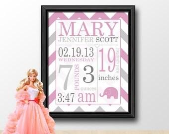 Baby Birth Info Pink Girl, Birth Stats for Girls, Baby Stats Subway Art, Personalized Baby Girl Gift, Chevron Nursery Print/Canvas/Digital