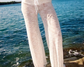 SWEATER KNIT crochet beach cover  resort  lounge yoga summer pants with front or side drawstring