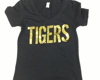 Ladies V-Neck T-Shirt TIGERS in Gold Foil