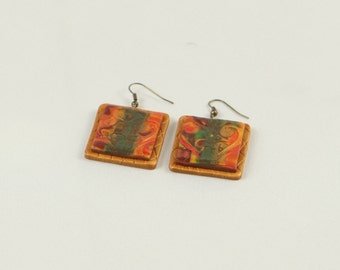 Polymer clay earrings, embossed flower, art earrings, handmade earrings, mokume gane earrings, art jewelry, cly jewelry, clay jewellery