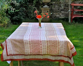 TABLECLOTH FINE COTTON Rust block printed rectangle