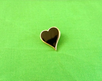 Vintage Sarah Coventry Gold-tone and Black Heart Brooch (Item 343)