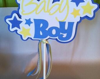 BABY BOY Centerpiece Sticks - Baby Shower Centerpiece Sticks - Baby Shower Decoration Sticks Set of 3