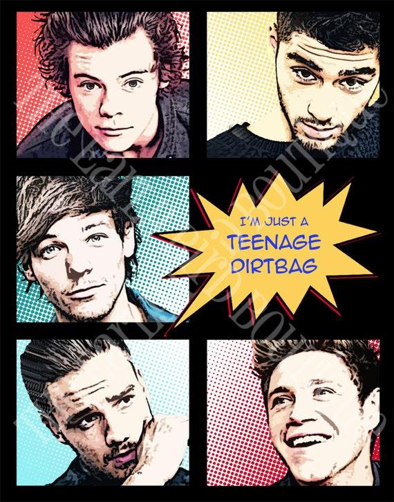 One Direction Teenage Dirtbag Comic Print 1D Harry Styles  Zayn Malik    One Direction Teenage Dirtbag Edit