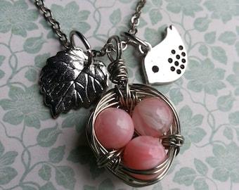 SALE!! Birds Nest Necklace - Pink with Silver Bird & Leaf