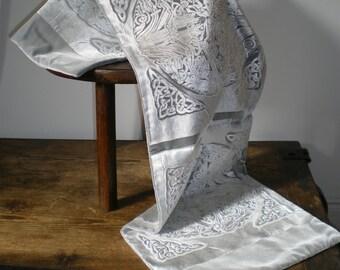 Hand printed embossed velvet scarf celtic circle design