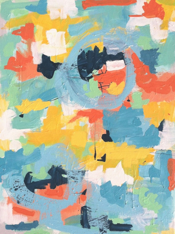 Carnival - 18 x 24 colorful, abstract, original, acrylic painting on canvas by Clare Wilkinson