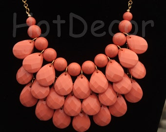 statement necklace Bubble necklace Bib Necklace teardrop necklace silver or gold chain Coral necklace coral jewelry for holiday Ship form US