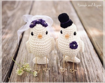No 1 - Crochet bird wedding cake topper - Crochet bride and groom birds - Wedding cake topper - Love birds