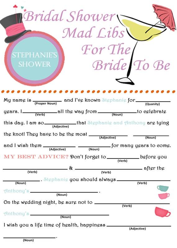 Mad Hatter Wedding Advice Mad Libs
