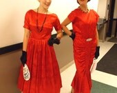 Vintage 1950's Red Satin Jacquard Dress New Look Cocktail Party Gown Chiffon Streamers Hot Tomato Prom Rockabilly