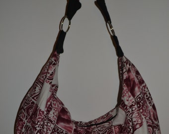 Red and White Batik Boho Slouchy Hobo Bag Purse
