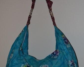 Blue, White, Purple, Yellow Batik Boho Slouchy Hobo Bag Purse