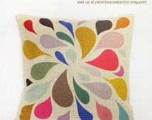 "Colorful Raindrop Pattern Linen Cotton Pillow Cover - Throw Pillow - Decorative Pillows  - 17"" x 17"""