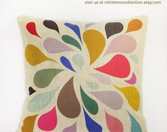 "Colorful Raindrop Pattern Linen Cotton Pillow Cover - Throw Pillow - Decorative Pillows  - 17"" x 17"""