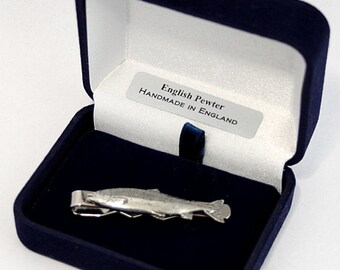 Atlantic Salmon Fish Tie Clip (slide) in Fine English Pewter, Handmade, Gift Boxed (ts)
