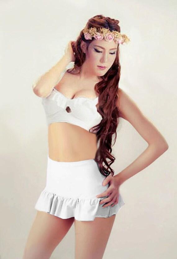 white top and white high waisted waist high waist skirt bath