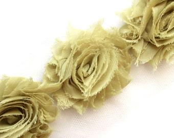 Shabby Rose Flower Trim--Olive