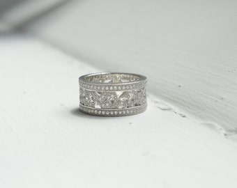 Cubic Zirconia Pave Ring - Voile Filigree Band Ring - Sterling Silver Lattice Band Ring - Silver Crystal Ring - Silver Wedding Band
