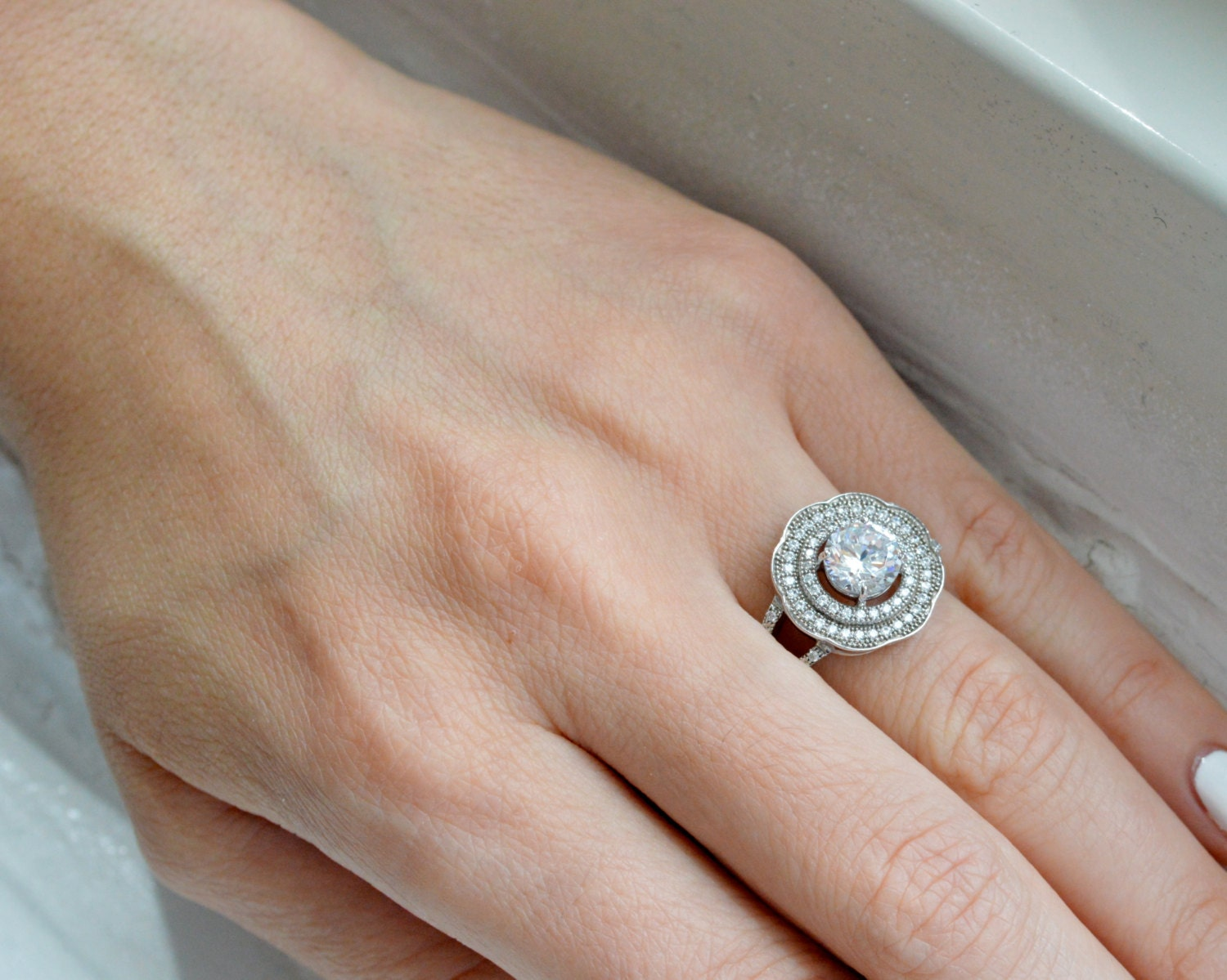 Double Halo Engagement Ring Silver Art Deco Ring Cubic